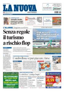 Prima pagina La Nuova Sardegna 20 maggio