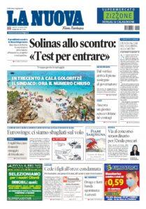Prima pagina La Nuova Sardegna 26 maggio