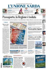 Prima Pagina Unione Sarda 29 maggio