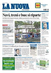Prima pagina La Nuova Sardegna 9 giugno