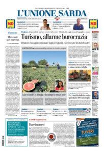 Prima pagina L'Unione Sarda 26 giugno