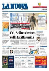 Prima pagina La Nuova Sardegna 9 luglio