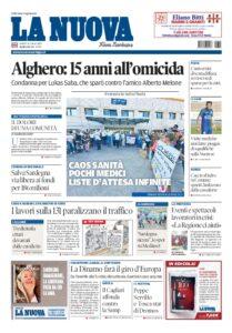 Prima pagina La Nuova Sardegna 16 luglio