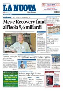 Prima pagina La Nuova Sardegna 20 luglio